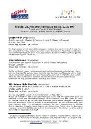 Musical School Bozen - Beschreibungen Schüleraufführungen 2014