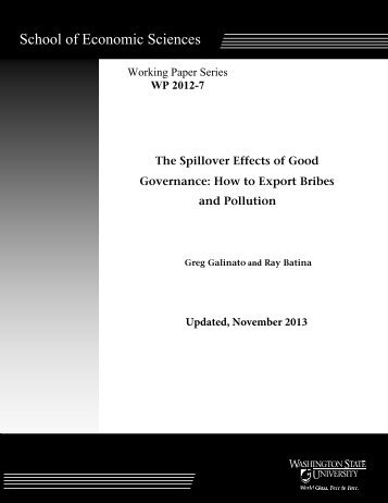 The Spillover Effects of Good Governance - Washington State ...