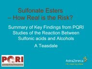 Sulphonate Esters - How real is the risk? - PQRI