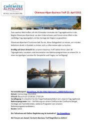 Chiemsee-Alpen Business Treff am 23. April 2015