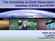 The Committee on Earth Observation Satellites (CEOS) and WCRP