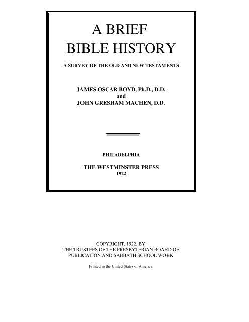 A Brief Bible History