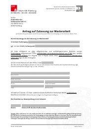 Antrag auf Zulassung zur Masterarbeit
