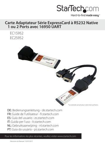 Carte Adaptateur Série ExpressCard à RS232 ... - StarTech.com