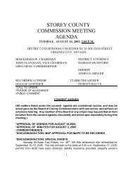 STOREY COUNTY COMMISSION MEETING AGENDA
