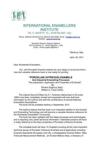 New PVEs book release 2 - IEI, International Enamellers Institute