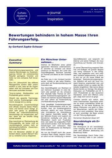 Ausgabe 06/2004 Bewertungen behindern in hohem ... - EuRatio