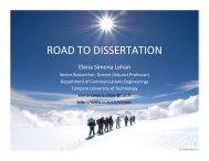 ROAD TO DISSERTATION