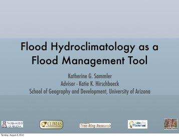 Flood Hydroclimatology as a Flood Management Tool - University of ...