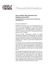 Presseinformation - GEV Großküchen-Ersatzteil-Vertrieb GmbH