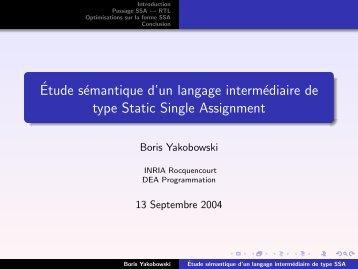 Étude sémantique d'un langage intermédiaire de ... - Gallium - Inria