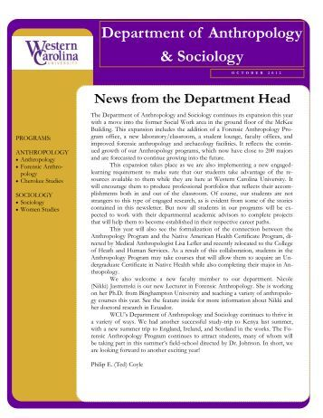 Department of Anthropology & Sociology - PAWS - Western Carolina ...