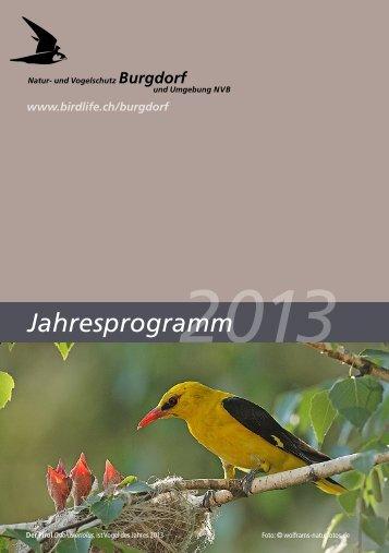 Jahresprogramm NVB 2013 - Natur- und Vogelschutz Burgdorf