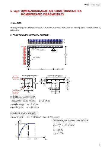 Dimenzioniranje AB konstrukcije na kombinirano obremenitev