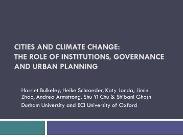 Cities and Climate Change: The role of institutions, governance and ...