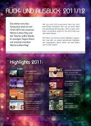 Ruck- und Ausblick: 2011/12 : - Values & Life