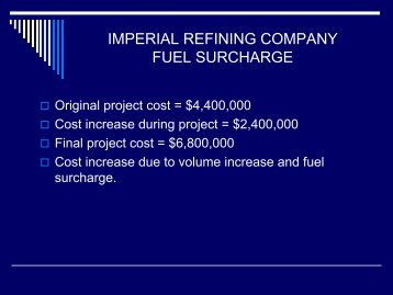 Imperial Refining Company Fuel Surcharge