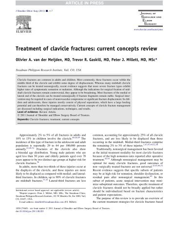 Treatment of clavicle fractures: current concepts review - Dr. Peter J ...