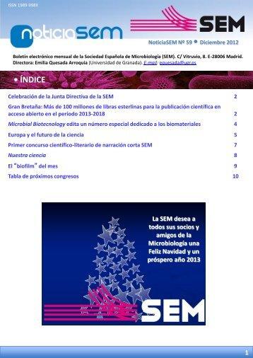 Nº 59 - Diciembre 2012 - Sociedad Española de Microbiología