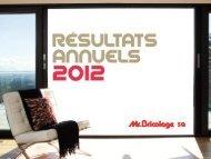 Présentation des résultats annuels SFAF 2012 - Groupe Mr.Bricolage