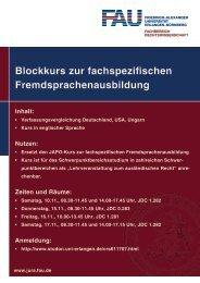 Blockkurs zur fachspezifischen Fremdsprachenausbildung