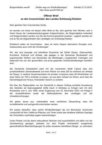 Offener Brief an den Innenminister des Landes ... - wwvW1500.de