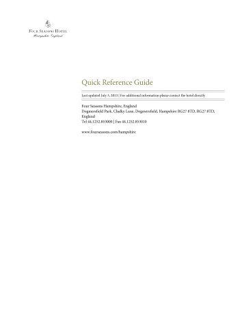 Quick Reference Guide - Four Seasons Hotels and Resorts