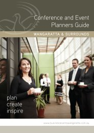 Conference and Event Planners Guide - Rural City of Wangaratta