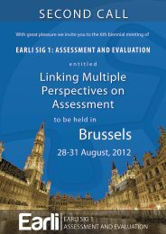EARLI SIG 1: ASSESSMENT AND EVALUATION - SECOND CALL
