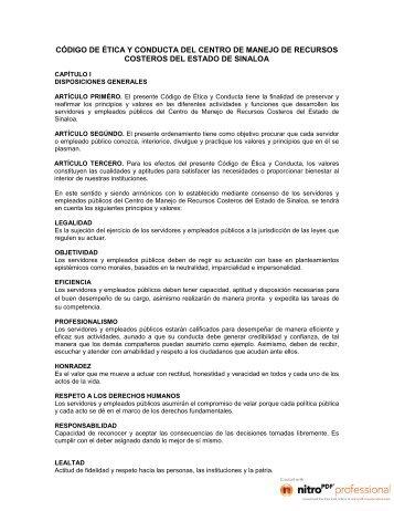 codigo de etica y conducta - Gobierno del Estado de Sinaloa