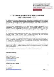 La 7e édition du Zermatt Festival ouvre ses portes le vendredi 2 ...