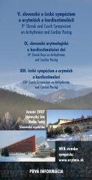 V. slovenské a české sympózium o arytmiách a kardiostimulácii