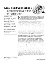 Local Food Connections - Economic Impact of Use in Restaurants