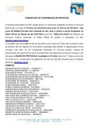 Comunicado de Confirmação de Inscrição - Hospital Universitário ...