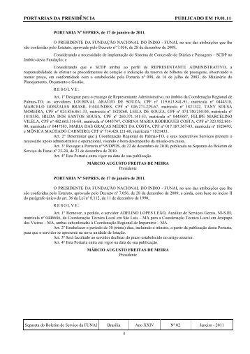 PORTARIAS DA PRESIDÊNCIA PUBLICADO EM 19.01.11 - Funai
