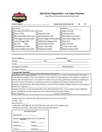 2012 Driver Registration—Las Vegas Shootout - arizona short ...