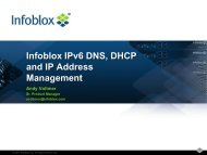 Infoblox IPv6 DNS, DHCP and IP Address ... - gogoNET LIVE!