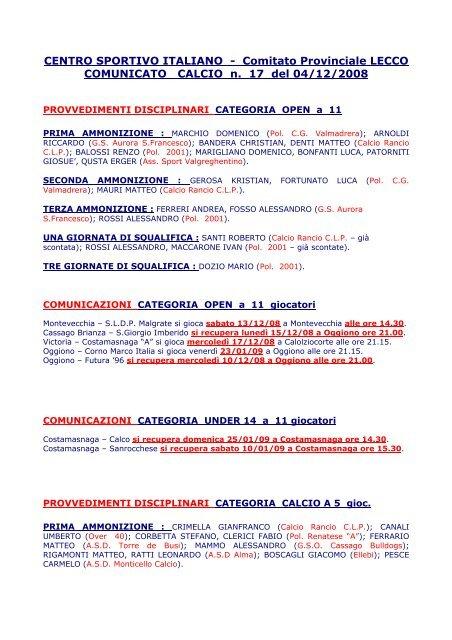 CENTRO SPORTIVO ITALIANO - Comitato Provinciale ... - CSI Lecco