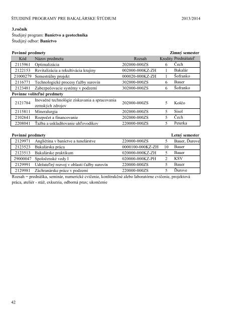 Katalóg študijných programov Fakulty BERG pre akademický rok ...