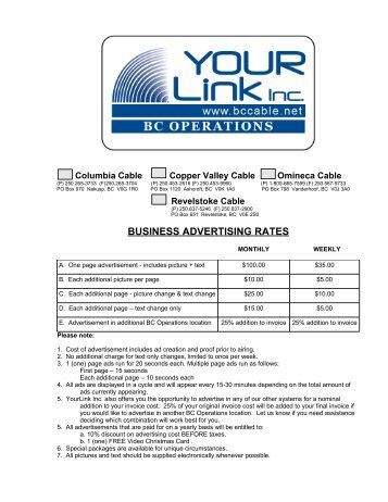 BUSINESS ADVERTISING RATES - Copper Valley Cable