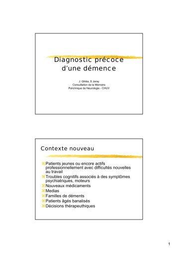 Diagnostic précoce d'une démence - SGG-SSG