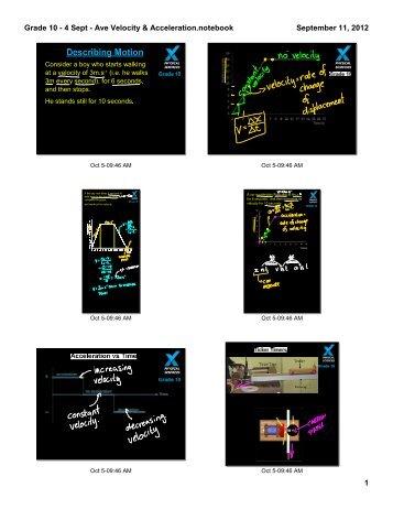 Grade 10 - 4 Sept - Ave Velocity & Acceleration.notebook 1 ...