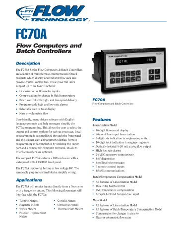 FC70A Flow Computers and Batch Controllers
