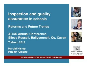 Inspection and quality assurance in schools - Department of ...