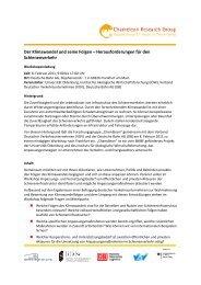 Workshop Der Klimawandel und seine Folgen - Herausforderungen ...