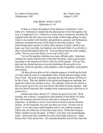 St. Andrew Presbyterian Rev. Frank Yates Albuquerque, NM August ...