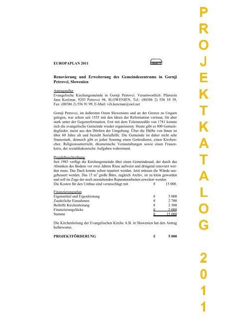 Projektbeschreibung 2011 - Gustav-Adolf-Werk