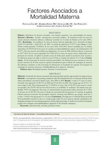 Factores Asociados a Mortalidad Materna - Hospital General de ...