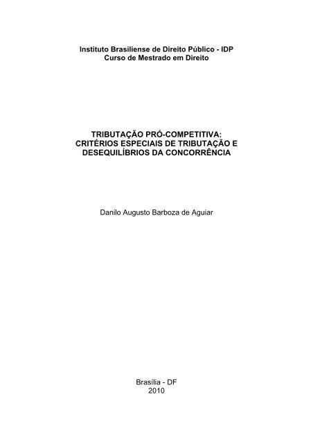 critérios especiais de tributação e desequilíbrios da concorrência - IDP