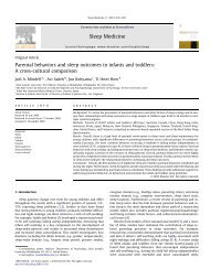 Parental behaviors and sleep outcomes in infants and toddlers: A ...